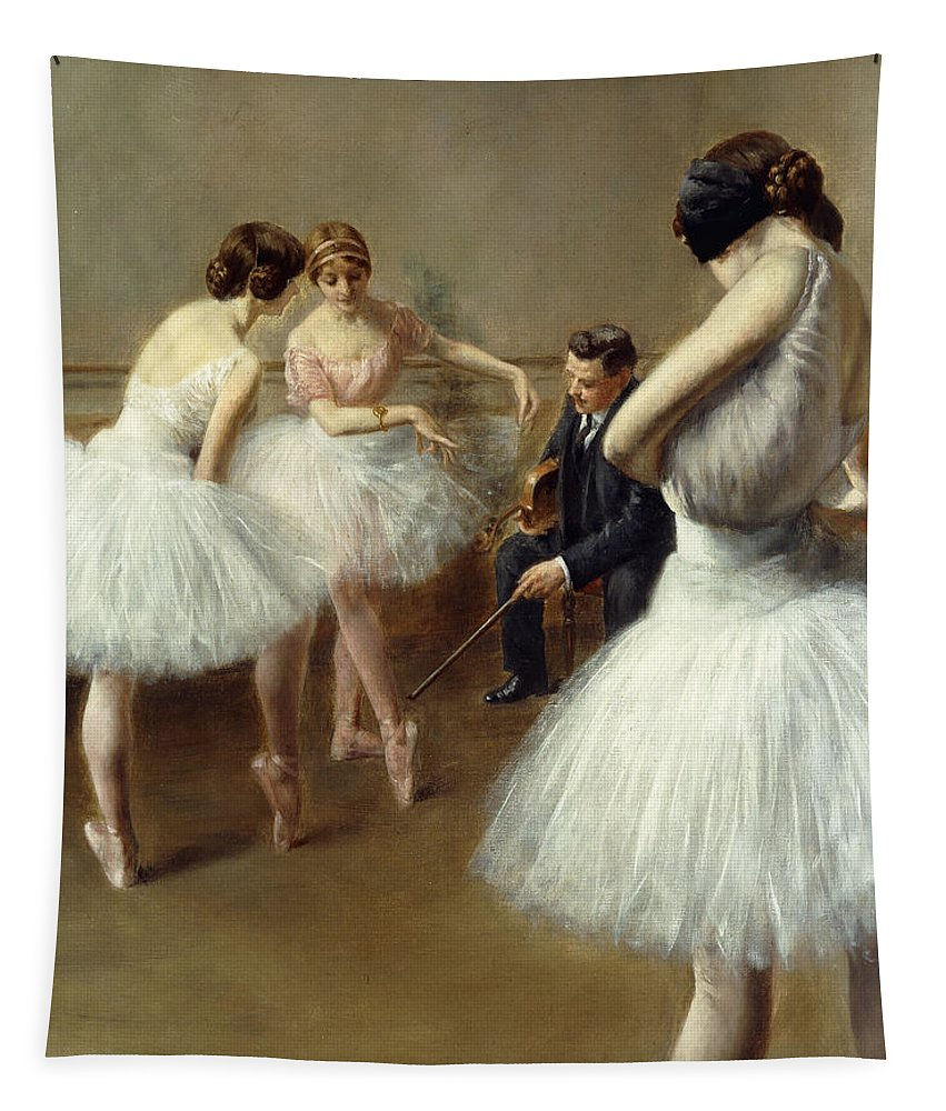 Dance Tapestry featuring the painting The Ballet Lesson by Pierre Carrier-Belleuse