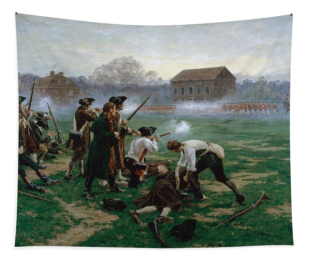 Massachusetts Tapestry featuring the painting The Battle Of Lexington, 19th April 1775 by William Barnes Wollen