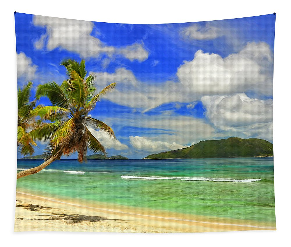 Anse Gaulettes Tapestry featuring the painting The Beach At Anse Gaulettes by Dominic Piperata
