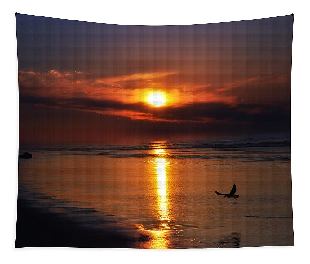 Beach Tapestry featuring the photograph The Beach At Dawn by Bill Cannon