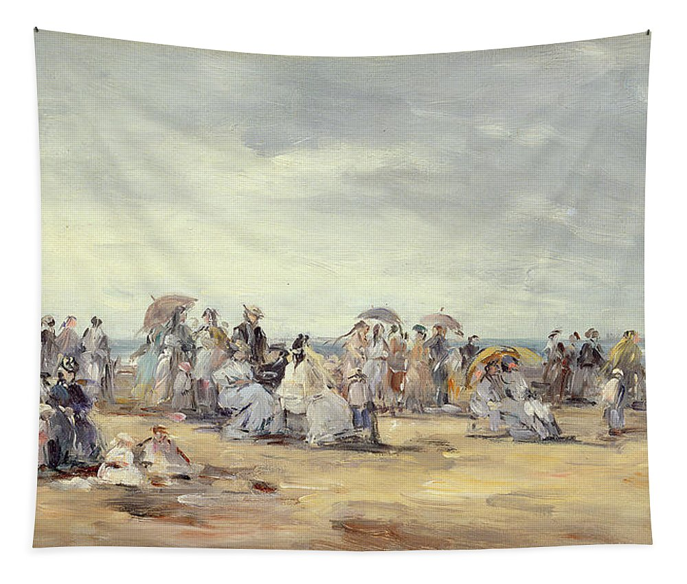 Parasols Tapestry featuring the painting The Beach At Trouville, 1873 by Eugene Louis Boudin