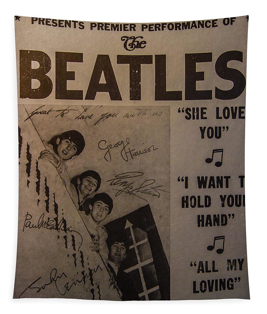 The Beatles Ed Sullivan Show Poster Tapestry featuring the photograph The Beatles Ed Sullivan Show Poster by Mitch Shindelbower
