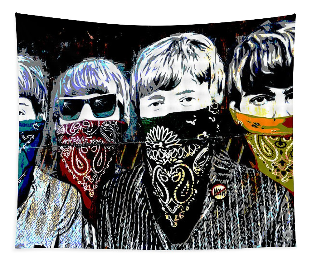 Banksy Tapestry featuring the photograph The Beatles wearing face masks by RicardMN Photography