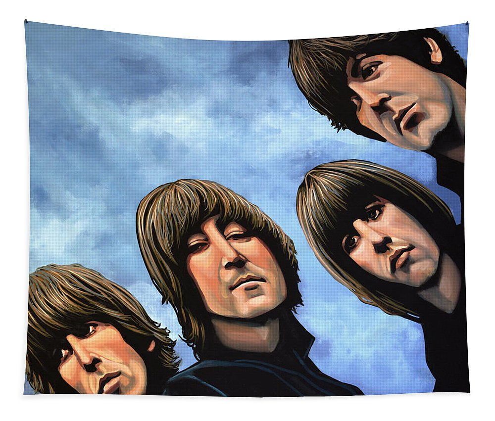 The Beatles Tapestry featuring the painting The Beatles Rubber Soul by Paul Meijering