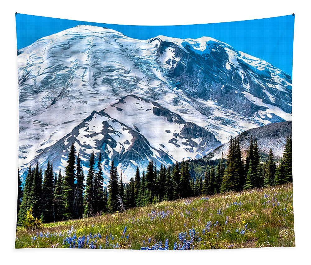 Mount Rainier Tapestry featuring the photograph The Beautiful Mount Rainier At Sunrise Park by David Patterson
