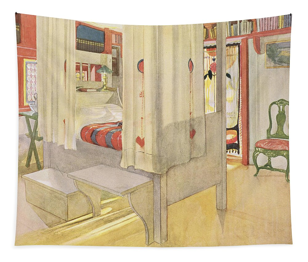 Interior Tapestry featuring the drawing The Bedroom, Published In Lasst Licht by Carl Larsson