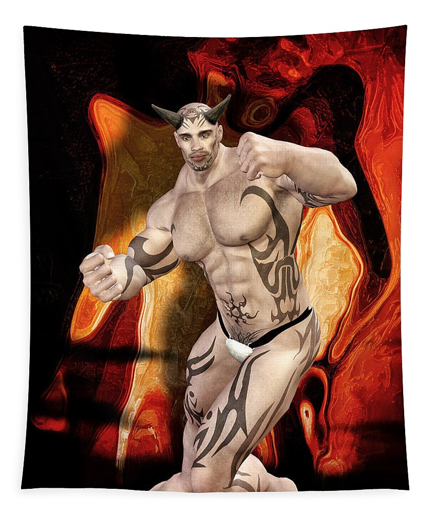 Free Thought Tapestry featuring the digital art Beelzebub by Quim Abella