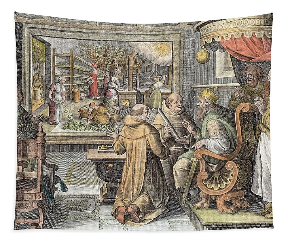 Print Tapestry featuring the drawing The Beginning Of The Silk Industry by Jan van der Straet