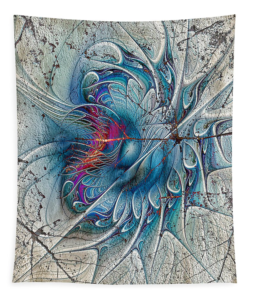 Abstract. Digital Abstract Tapestry featuring the digital art The Blue Mirage by Deborah Benoit