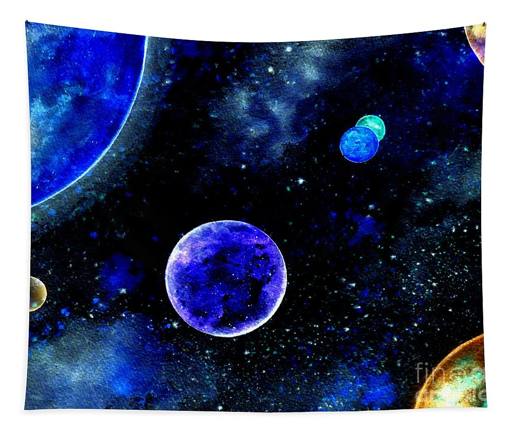 The Blue Planet Tapestry featuring the painting The Blue Planet by Bill Holkham