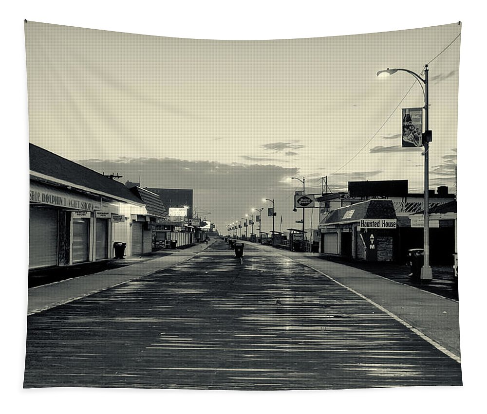 The Boardwalk Before Sunrise In Sepia Tapestry featuring the photograph The Boardwalk Before Sunrise In Sepia by Bill Cannon