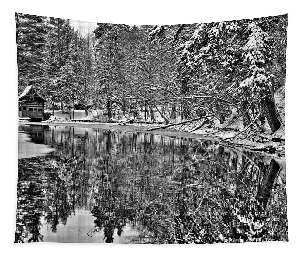 The Boathouse In Old Forge Tapestry featuring the photograph The Boathouse In Old Forge by David Patterson