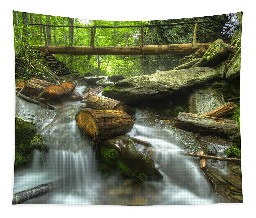 Appalachia Tapestry featuring the photograph The Bridge At Alum Cave by Debra and Dave Vanderlaan