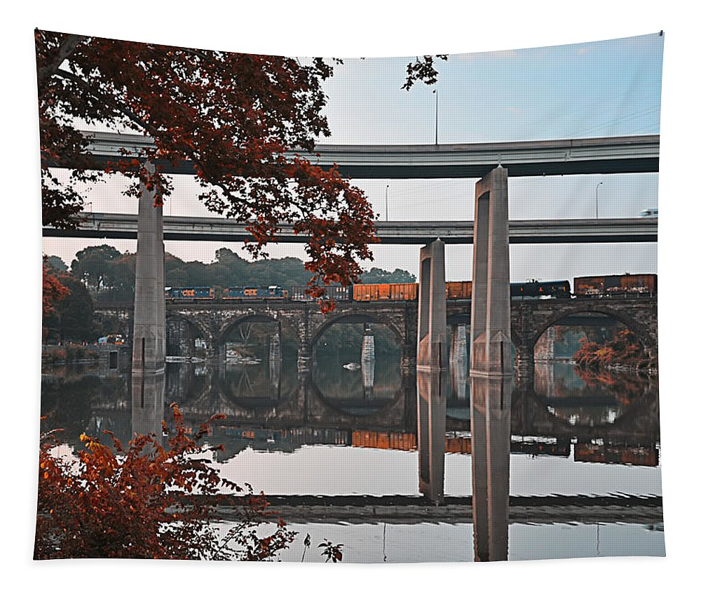Bridges Tapestry featuring the photograph The Bridges At East Falls by Bill Cannon