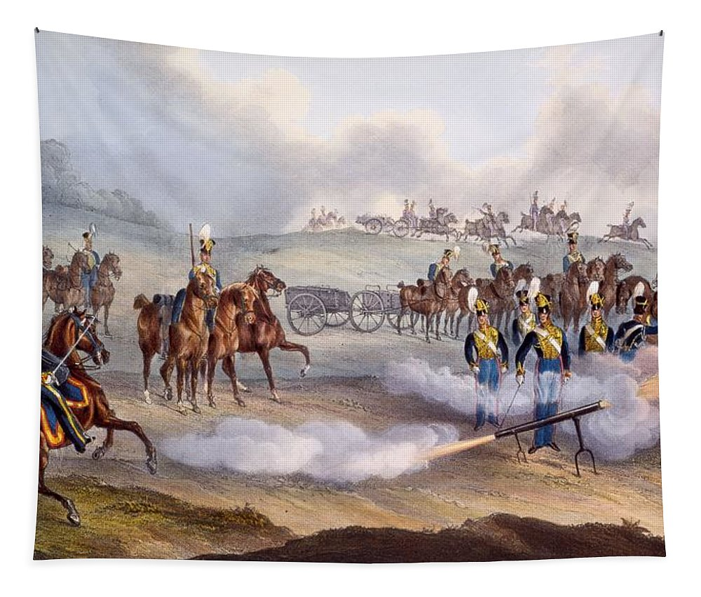 British Army Tapestry featuring the drawing The British Royal Horse Artillery - by William Heath