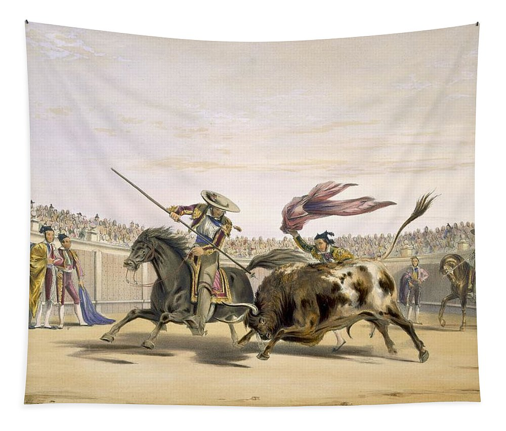 Bullfighter Tapestry featuring the drawing The Bull Following Up The Charge, 1865 by William Henry Lake Price