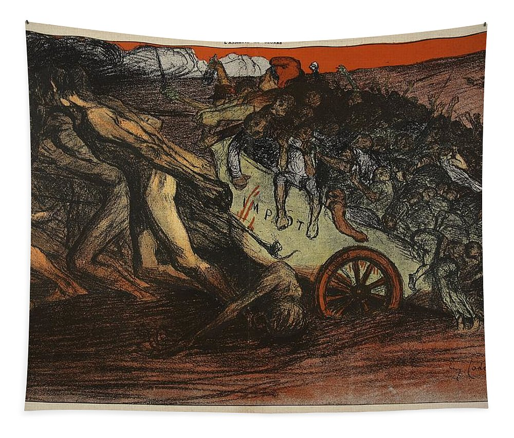 La Sue Tapestry featuring the drawing The Burden Of Taxation, Illustration by Eugene Cadel