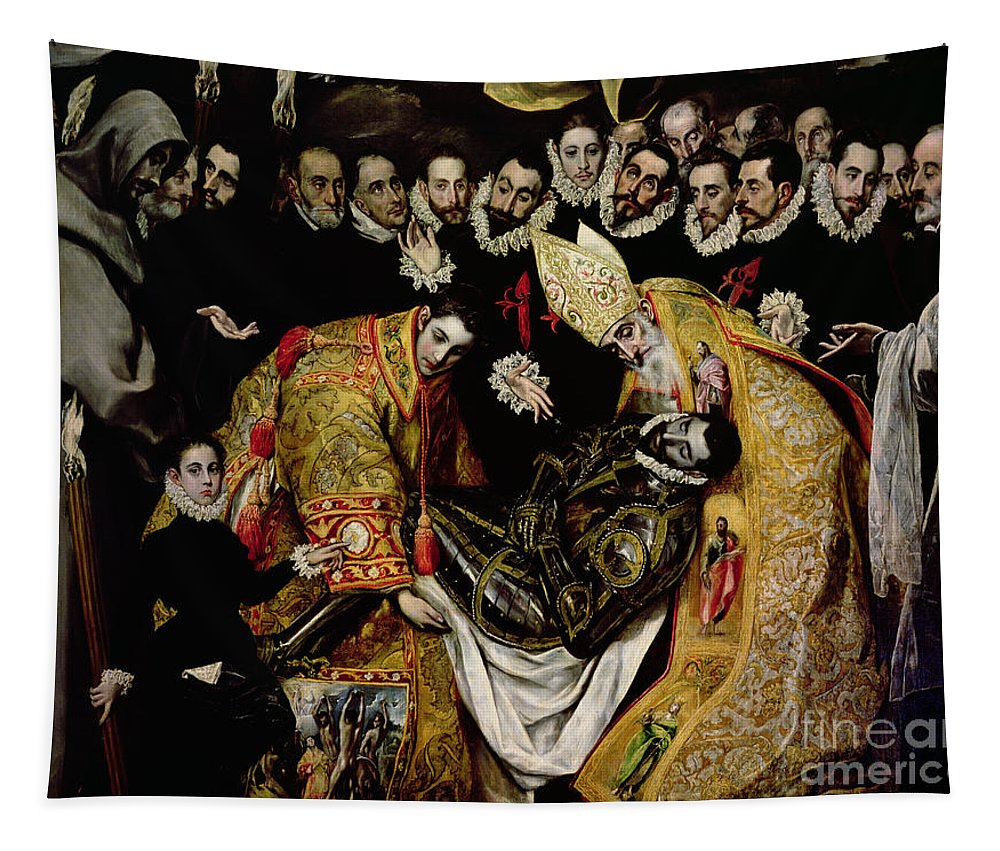 Dead Body; Corpse; Burying; Enterrement; Saint; Knight; Armour; Mourners; Mourning; Bgroup; Bishop; Mitre Tapestry featuring the painting The Burial Of Count Orgaz From A Legend Of 1323 Detail Of A Young Page by El Greco Domenico Theotocopuli