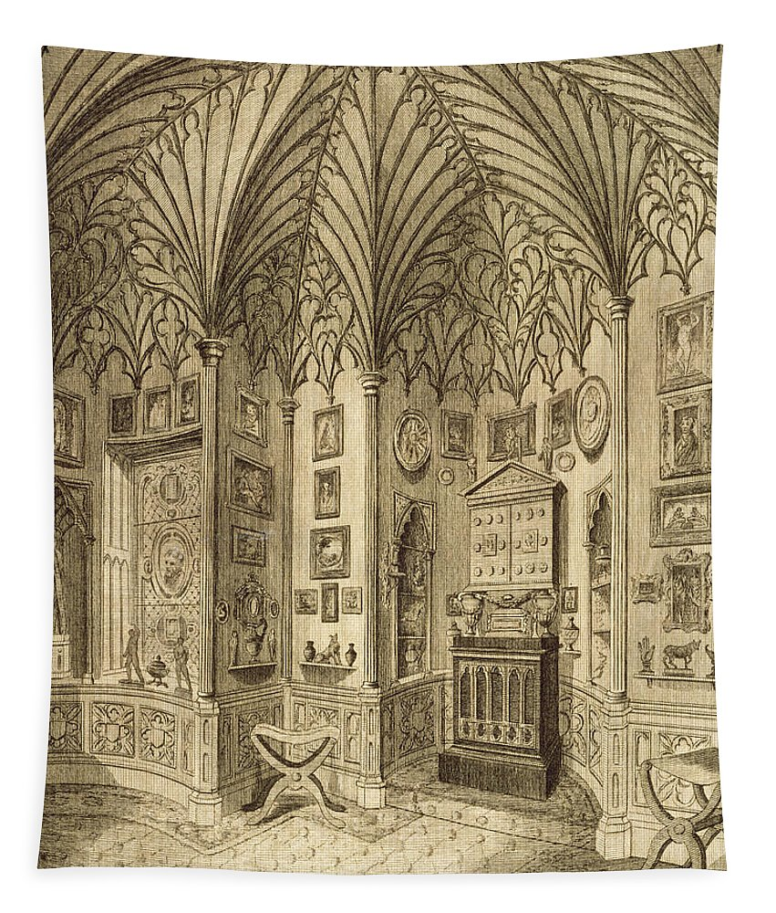 Neo-gothic Tapestry featuring the drawing The Cabinet, Engraved By T. Morris by English School
