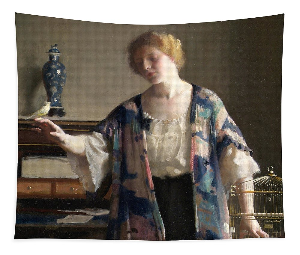 Portrait Tapestry featuring the painting The Canary by William McGregor Paxson