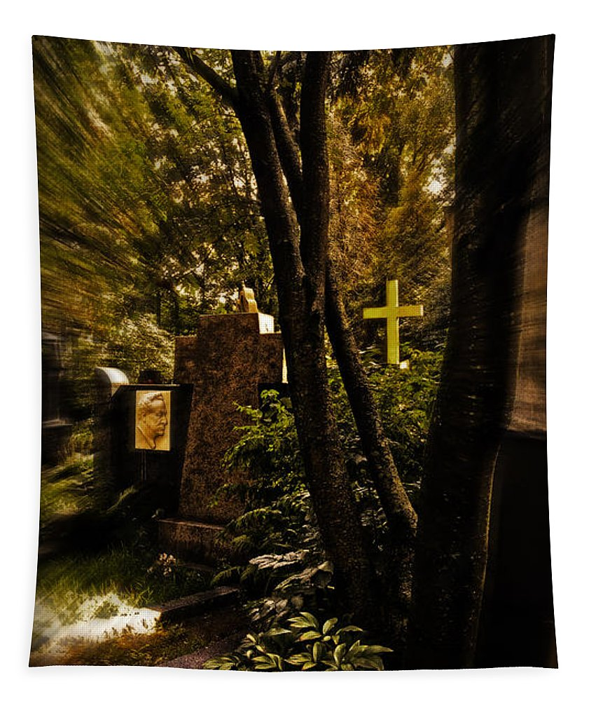 Cemetery Tapestry featuring the photograph The Cemetery by Madeline Ellis
