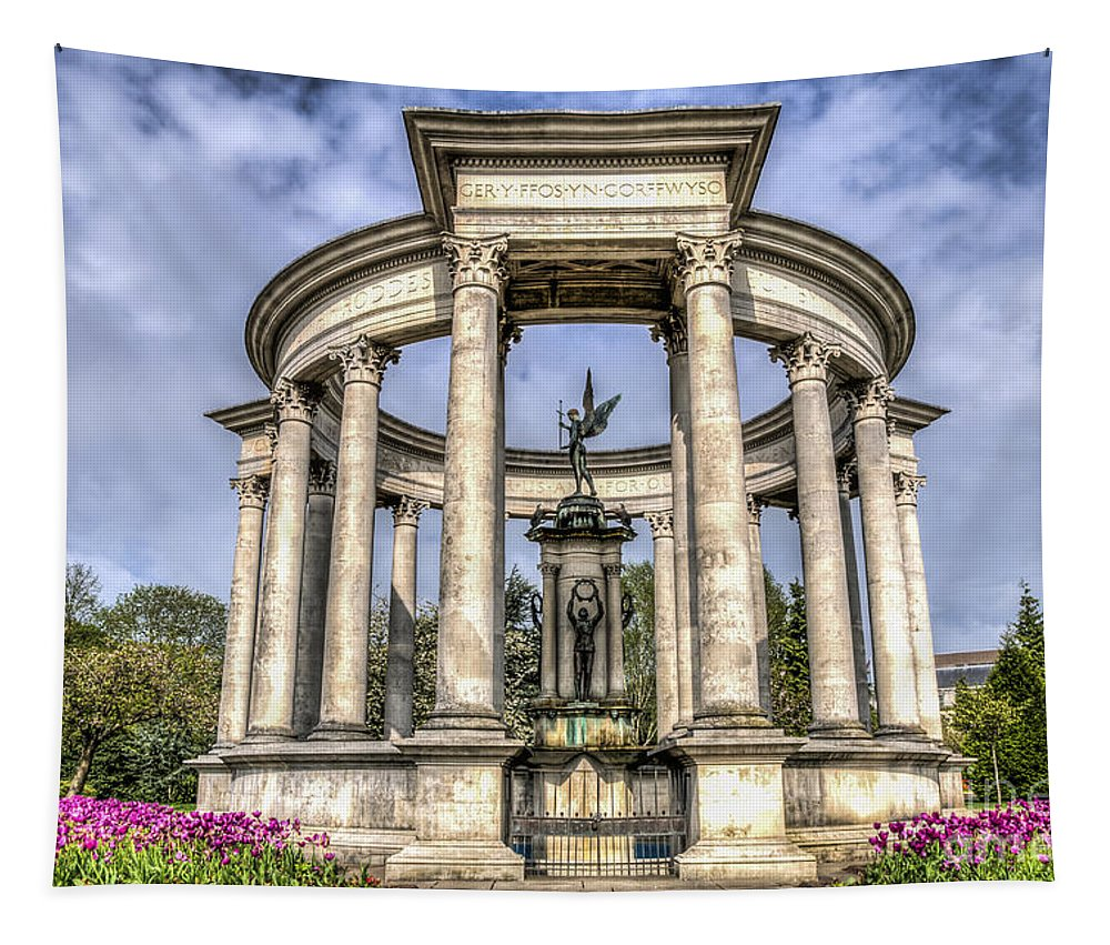 The Cenotaph Cardiff Tapestry featuring the photograph The Cenotaph Cardiff by Steve Purnell