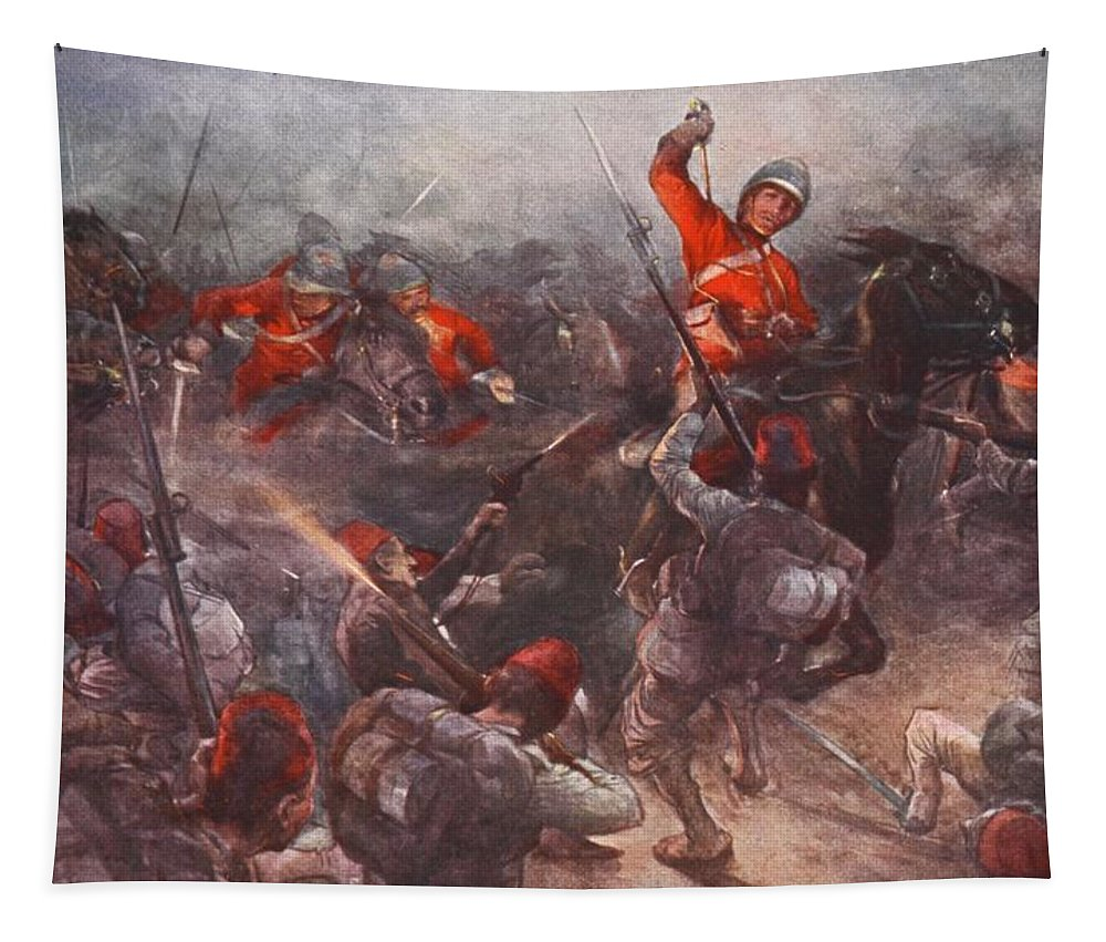 British Army Tapestry featuring the drawing The Charge Of Drury Lowes Cavalry by Christopher Clark
