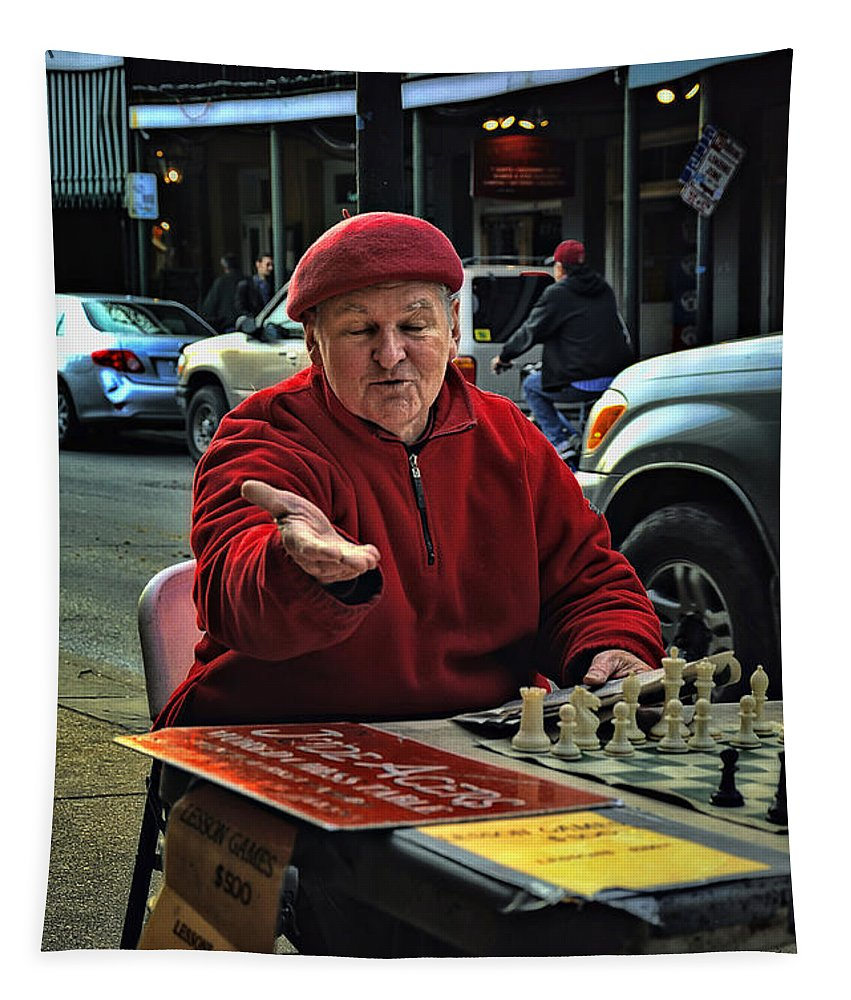 Chess Tapestry featuring the photograph The Chess King Jude Acers Of The French Quarter by Kathleen K Parker