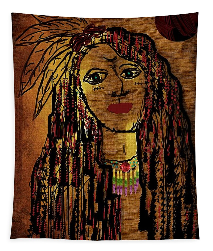 Landscape Tapestry featuring the mixed media The Cheyenne Indian Warrior Brave Wolf Pop Art by Pepita Selles