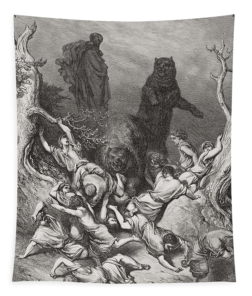 Children Of Bethel Tapestry featuring the painting The Children Destroyed By Bears by Gustave Dore
