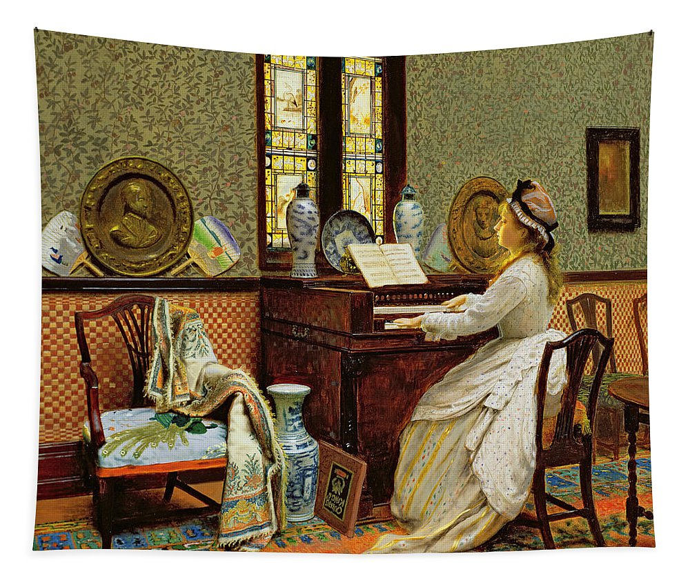 Grb Tapestry featuring the painting The Chorale by John Atkinson Grimshaw