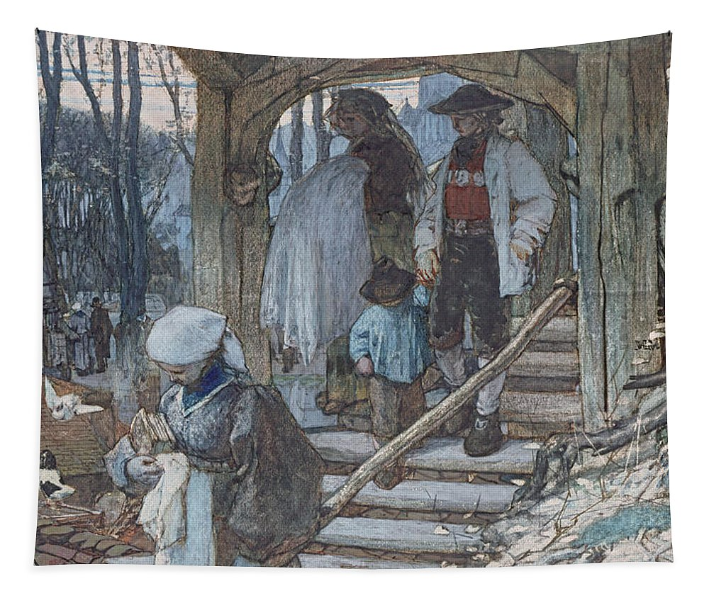 Hague School Tapestry featuring the drawing The Christening Gate In Lausanne, C.1861 by Matthijs Maris