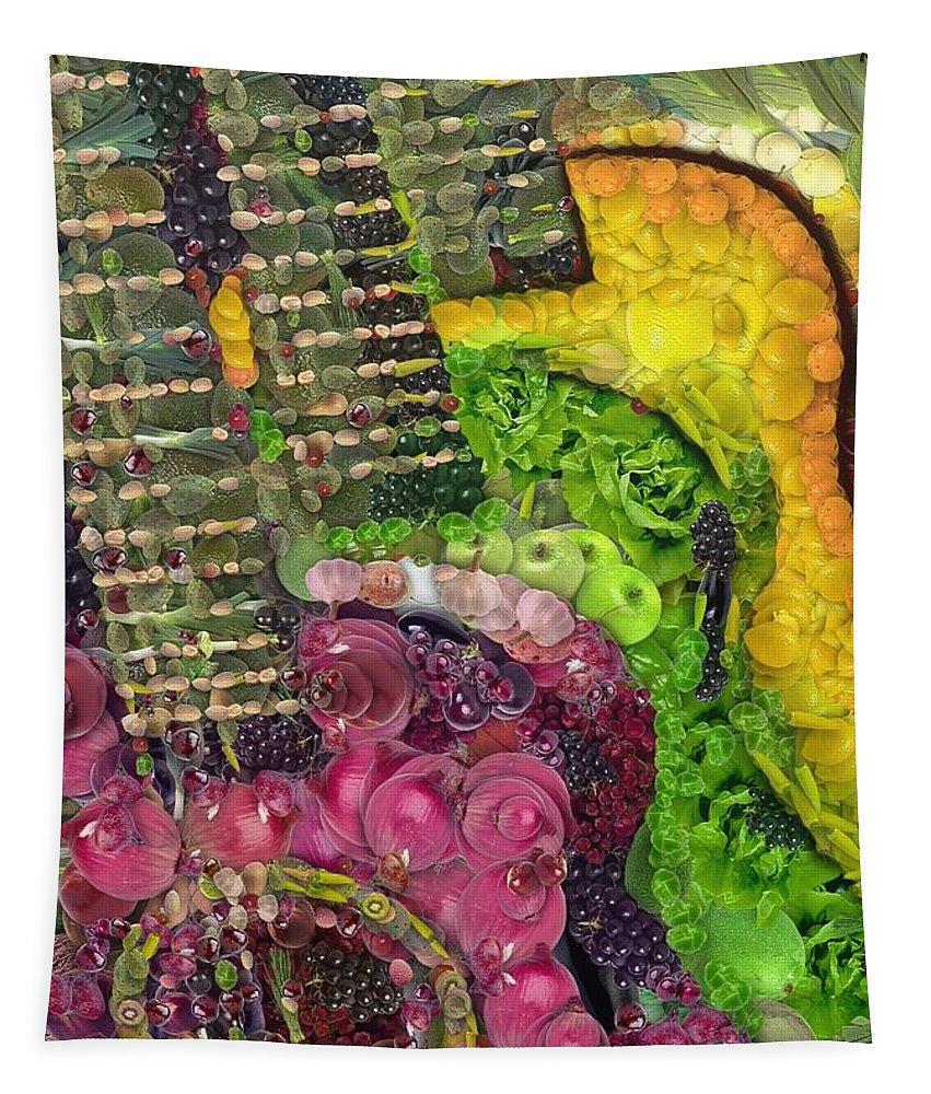 Digital Painting Tapestry featuring the painting The Color Of Music In The Way Of Arcimboldo by Dragica Micki Fortuna