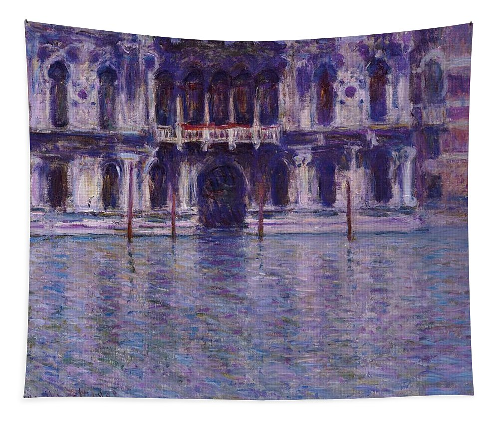 Contarini Palace; Palais Contarini; Impressionist; Venice; Venetian; Purple; Atmospheric; Picturesque; Architecture; Italy; Italian; Canal Tapestry featuring the painting The Contarini Palace by Claude Monet