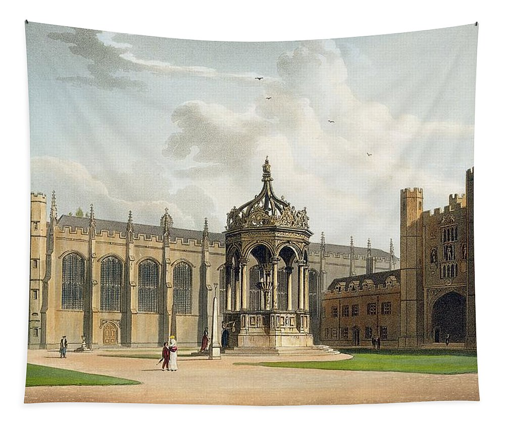 Built By Ralph Simons Tapestry featuring the drawing The Court Of Trinity College by William Westall