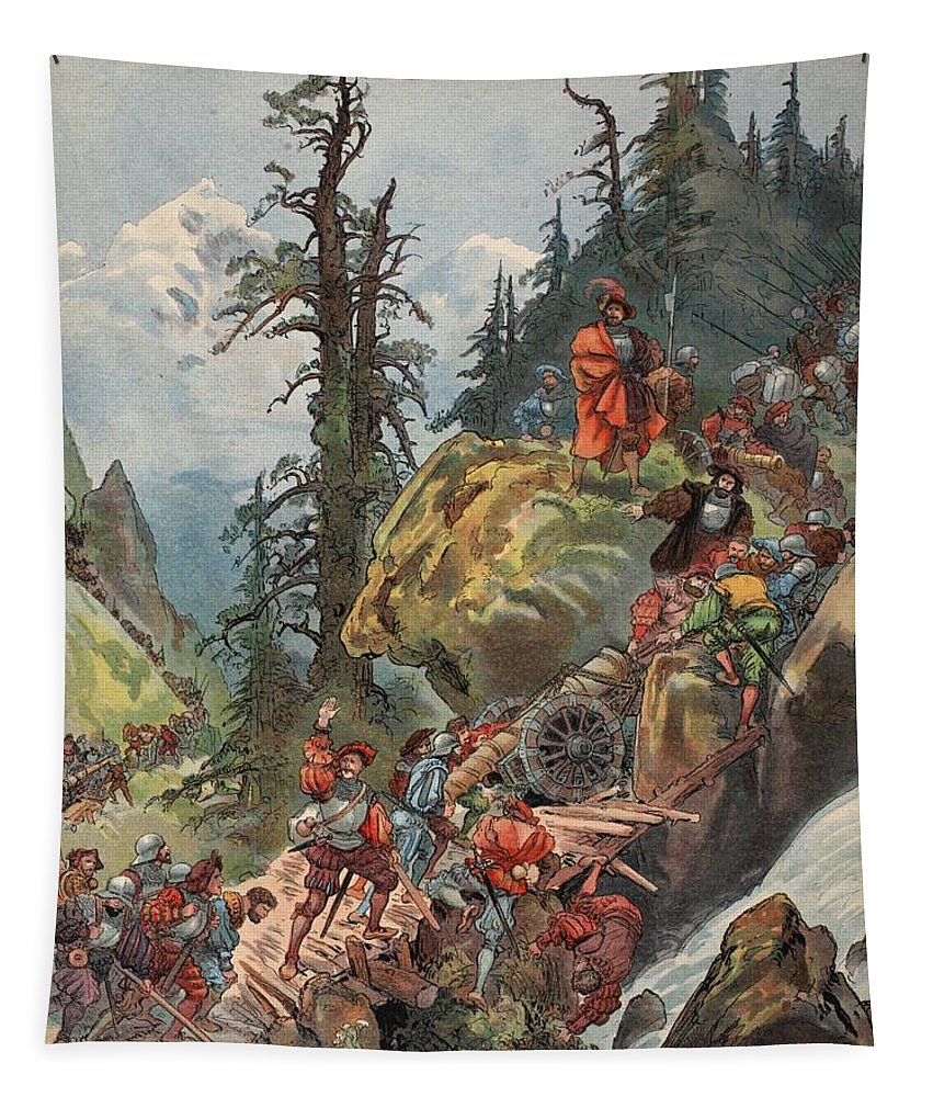 Ruler Tapestry featuring the drawing The Crossing Of The Alps, Illustration by Albert Robida