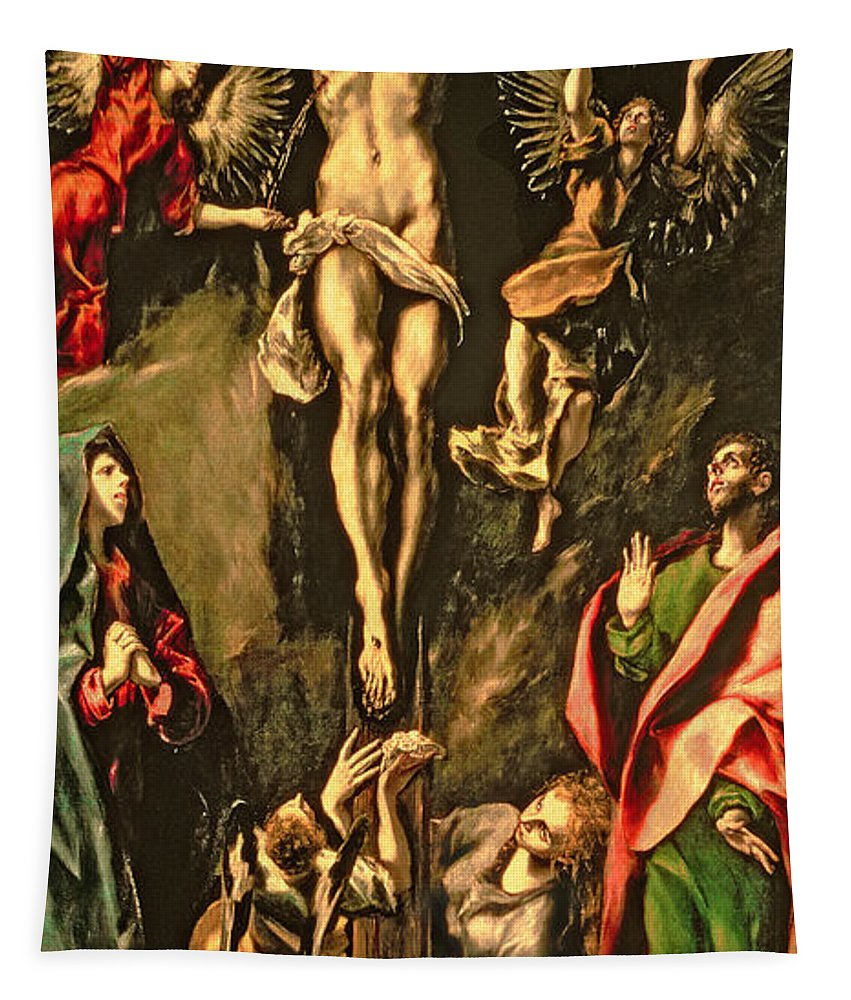 Mourning; Mary Magdalene; Angels Tapestry featuring the painting The Crucifixion by El Greco Domenico Theotocopuli