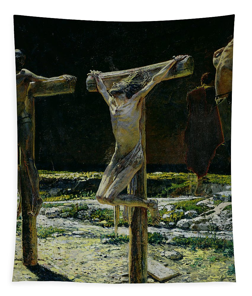 Son Of God Tapestry featuring the painting The Crucifixion by Nikolai Nikolaevich Gay
