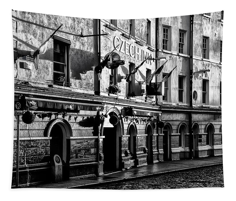 Czech Tapestry featuring the photograph The Czech Inn - Dublin Ireland In Black And White by Bill Cannon