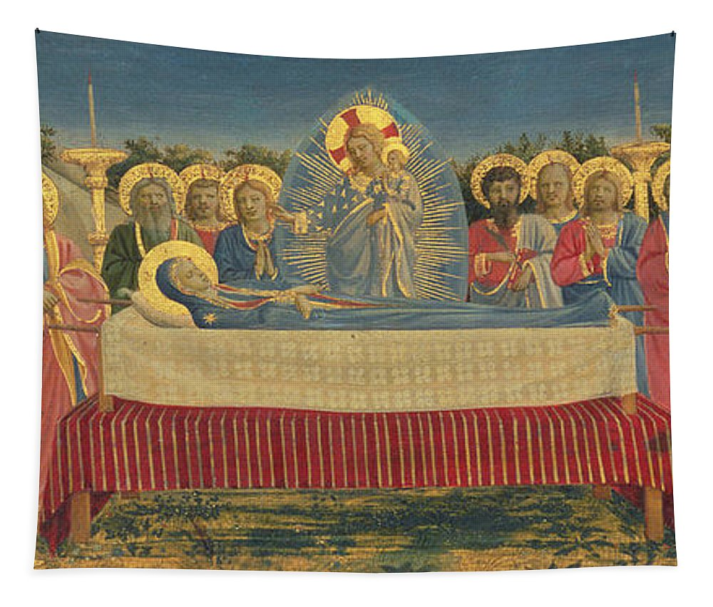 Christ Tapestry featuring the painting The Death Of The Virgin by Fra Angelico