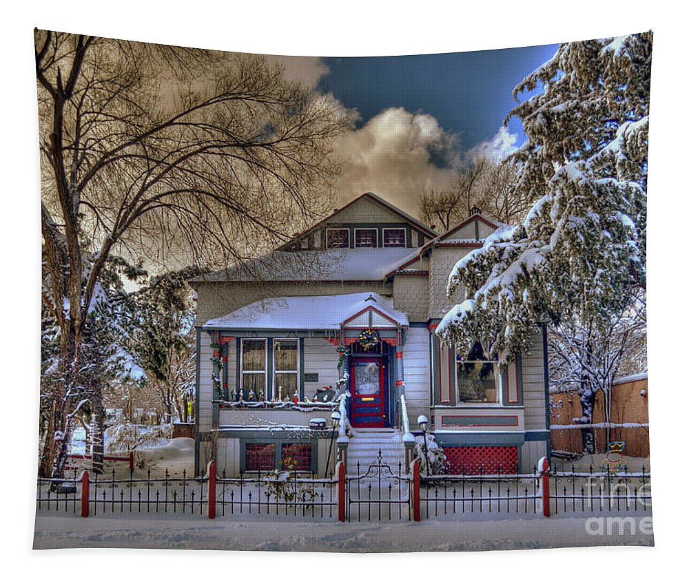 #dianagraves Tapestry featuring the photograph The Decorated Little House In The Snow by K D Graves