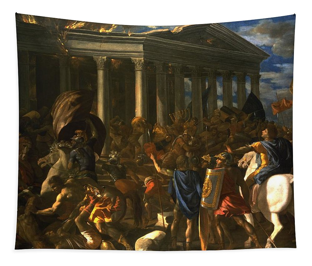 Male Tapestry featuring the painting The Destruction And The Sack by Nicolas Poussin