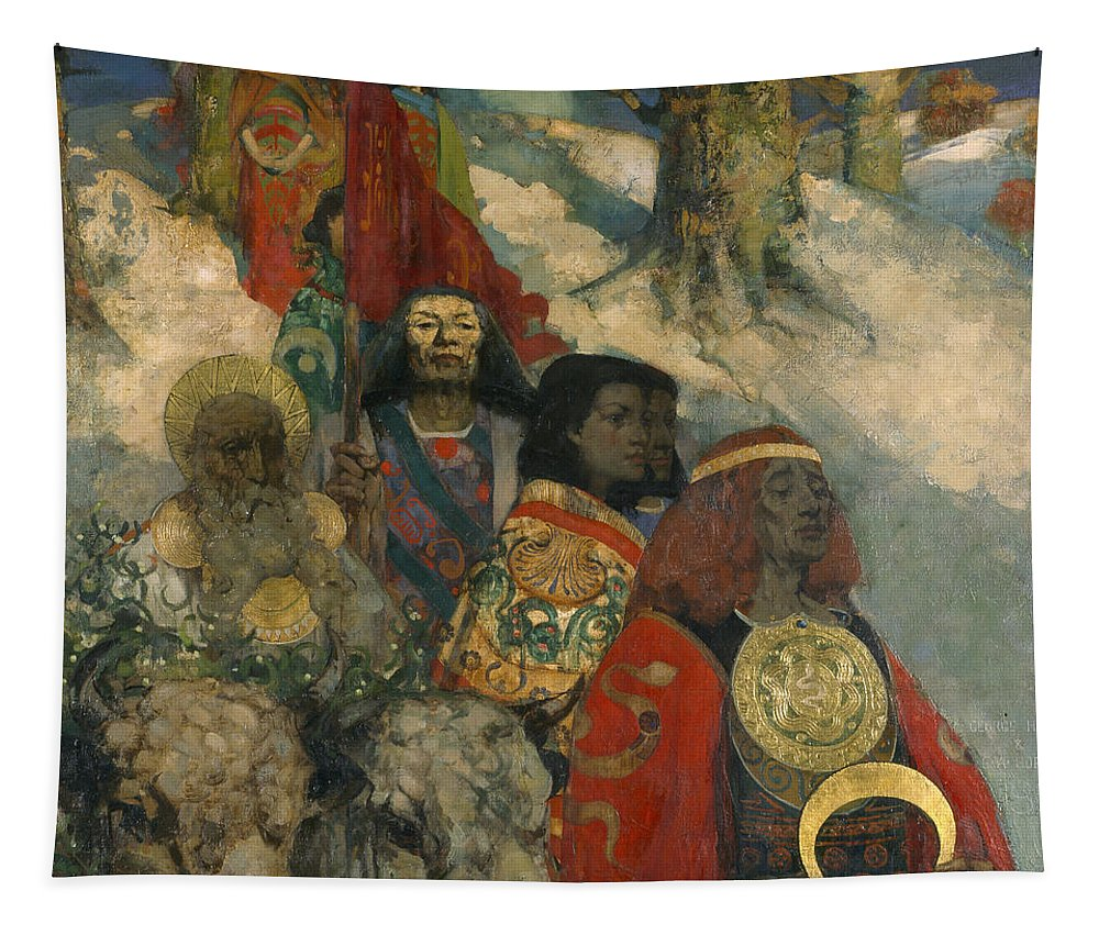 Druid Tapestry featuring the painting The Druids - Bringing In The Mistletoe by George and Hornel, Edward A. Henry