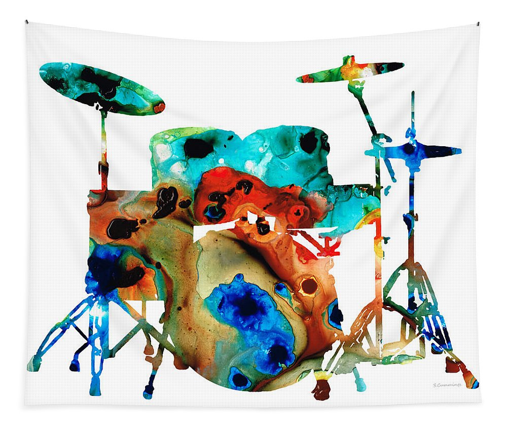 Drum Tapestry featuring the painting The Drums - Music Art By Sharon Cummings by Sharon Cummings