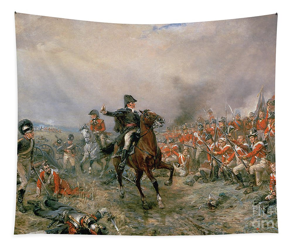 The Tapestry featuring the painting The Duke Of Wellington At Waterloo by Robert Alexander Hillingford