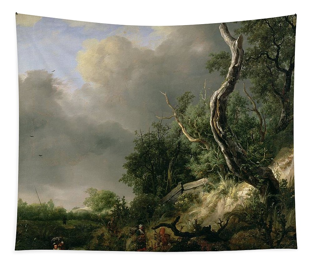 Landscape Tapestry featuring the painting The Dunes Near Haarlem by Jacob Isaaksz. or Isaacksz. van Ruisdael