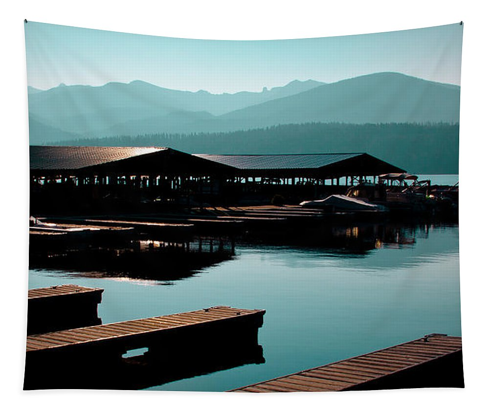 Boathouse Tapestry featuring the photograph The Elkins Boathouse On Priest Lake by David Patterson