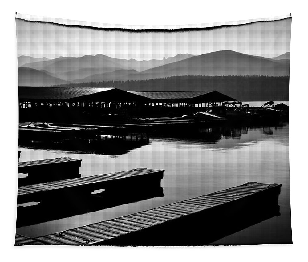 Priest Lake Tapestry featuring the photograph The Elkins Marina On Priest Lake Idaho by David Patterson