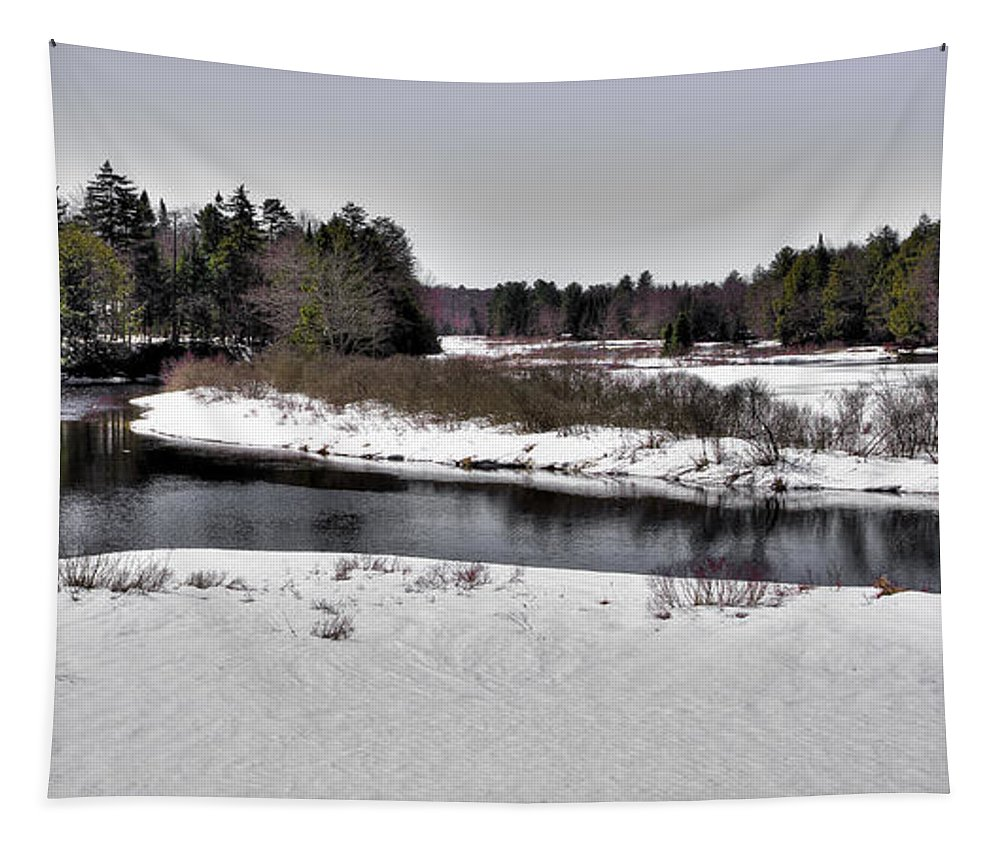 The End Of Winter On The Moose River Tapestry featuring the photograph The End Of Winter On The Moose River by David Patterson