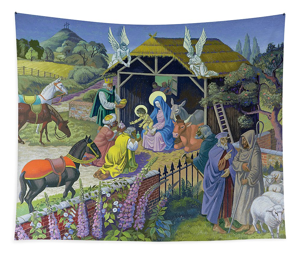 Modern Tapestry featuring the painting The Epiphany, 1987 by Osmund Caine